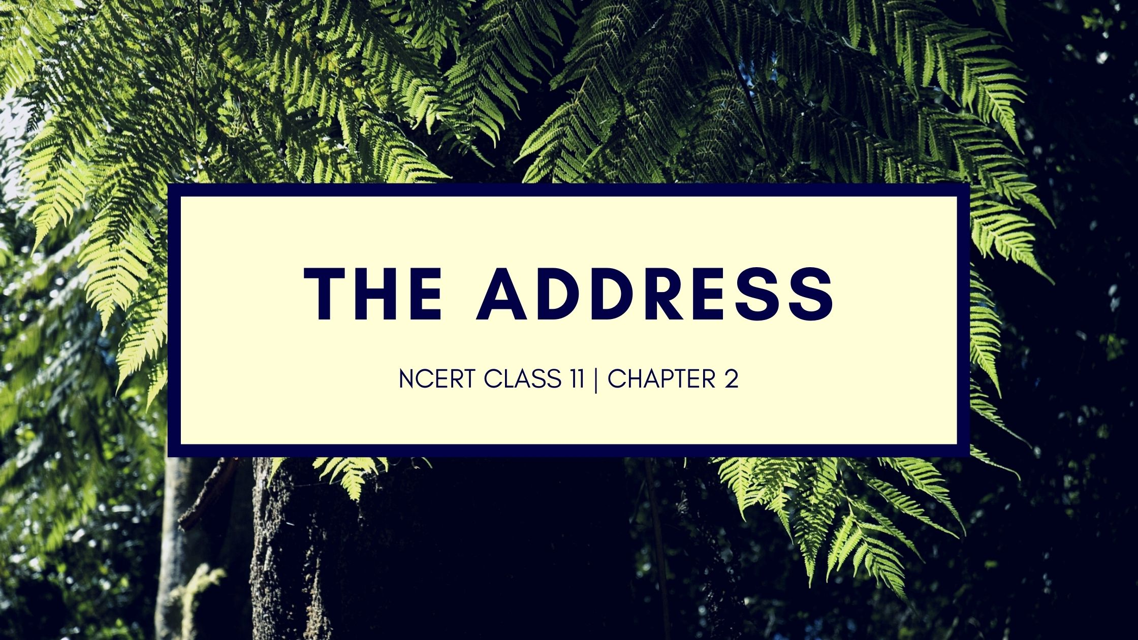 NCERT Solutions for 11th Class English Chapter The Address